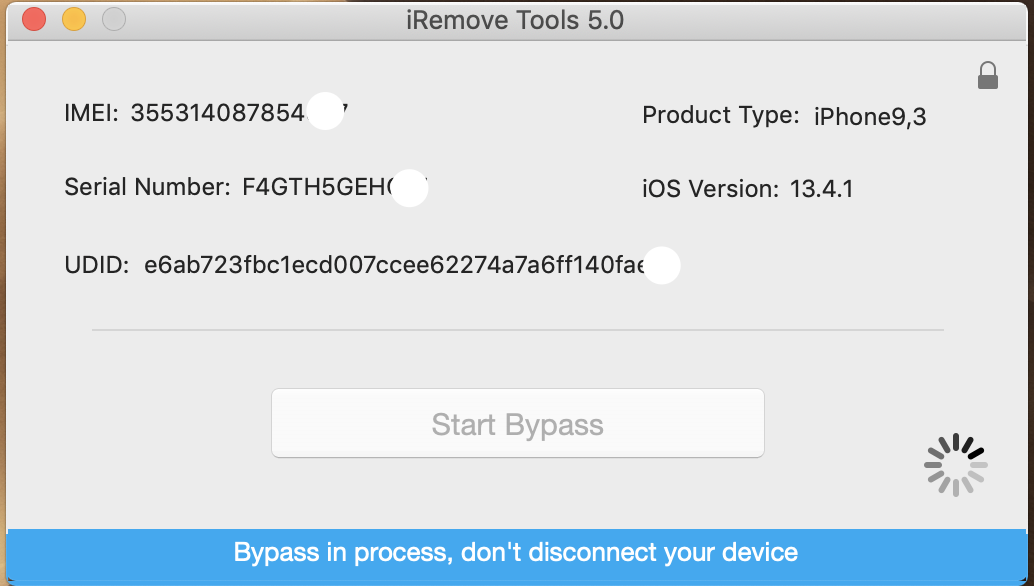 Bypass iCloud Activation Lock Screen by using iRemove Software step 1