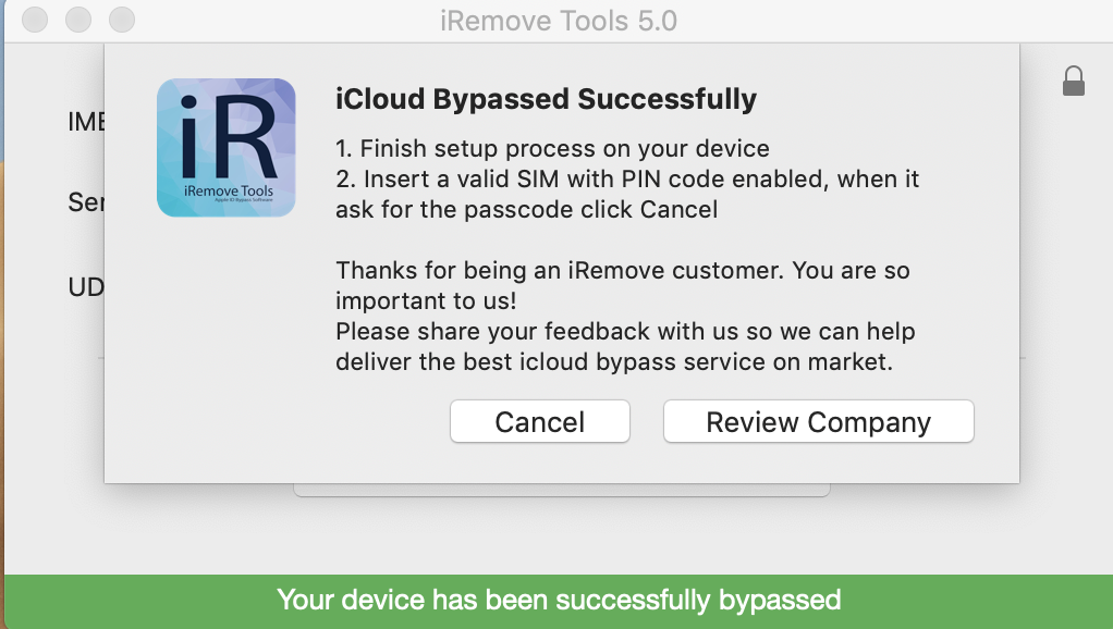 Bypass iCloud Activation Lock Screen by using iRemove Software step 2