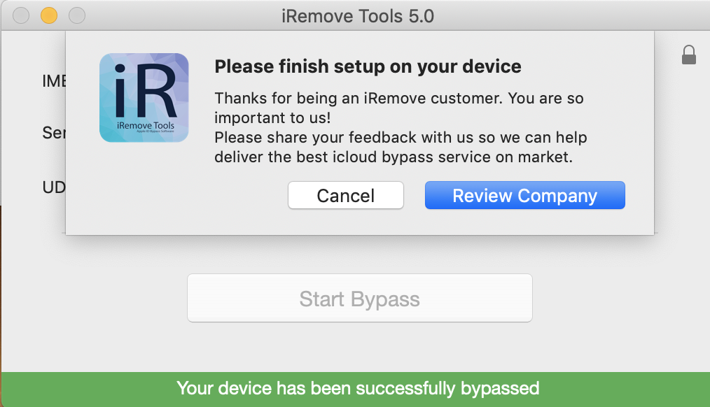 Bypass iCloud Activation Lock Screen by using iRemove Software step 3