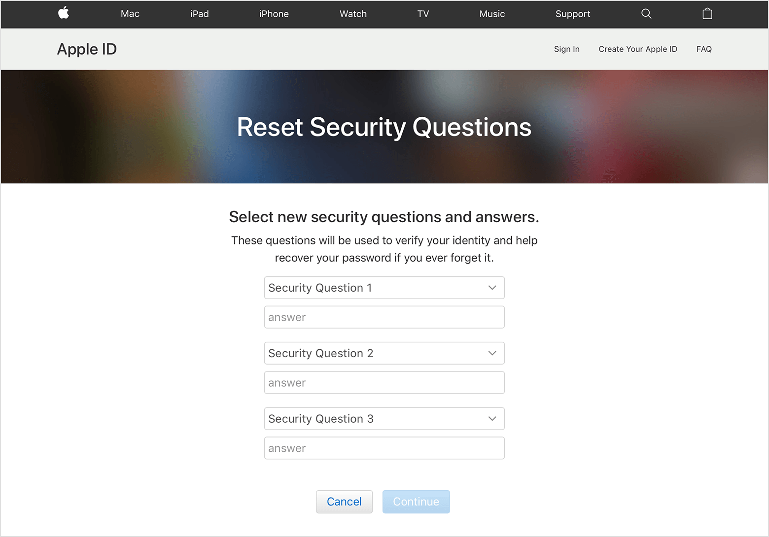 change or edit Apple ID security questions and answers
