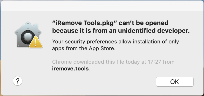 iRemove Software - can't be opened because it is from an unidentified developer step 1