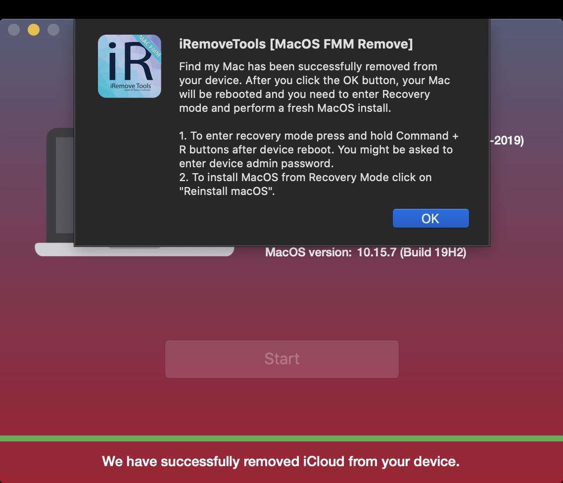 Unlock Find My Mac Done