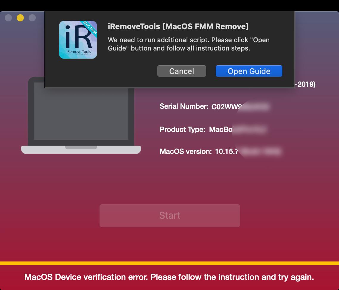Run Scrit via iRemove Find My Mac Unlock Software