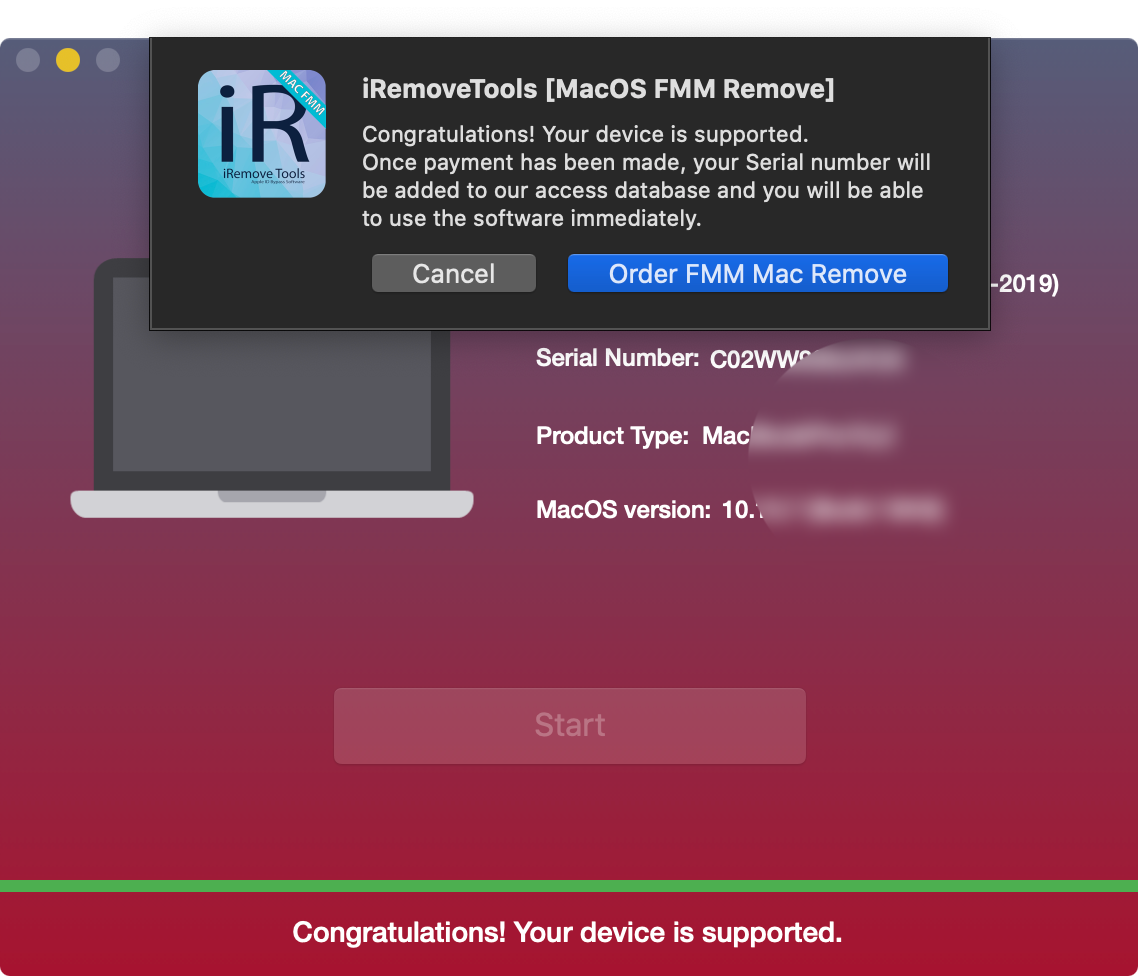 Check Mac via iRemove Find My Mac Unlock Software
