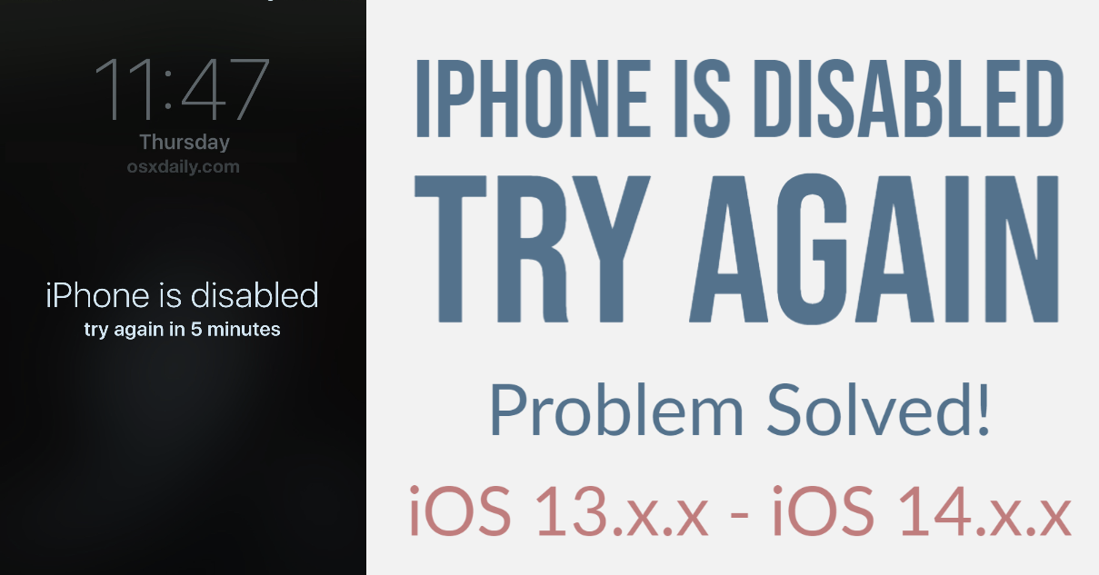 iPhone is disabled try again- Problem Solved!