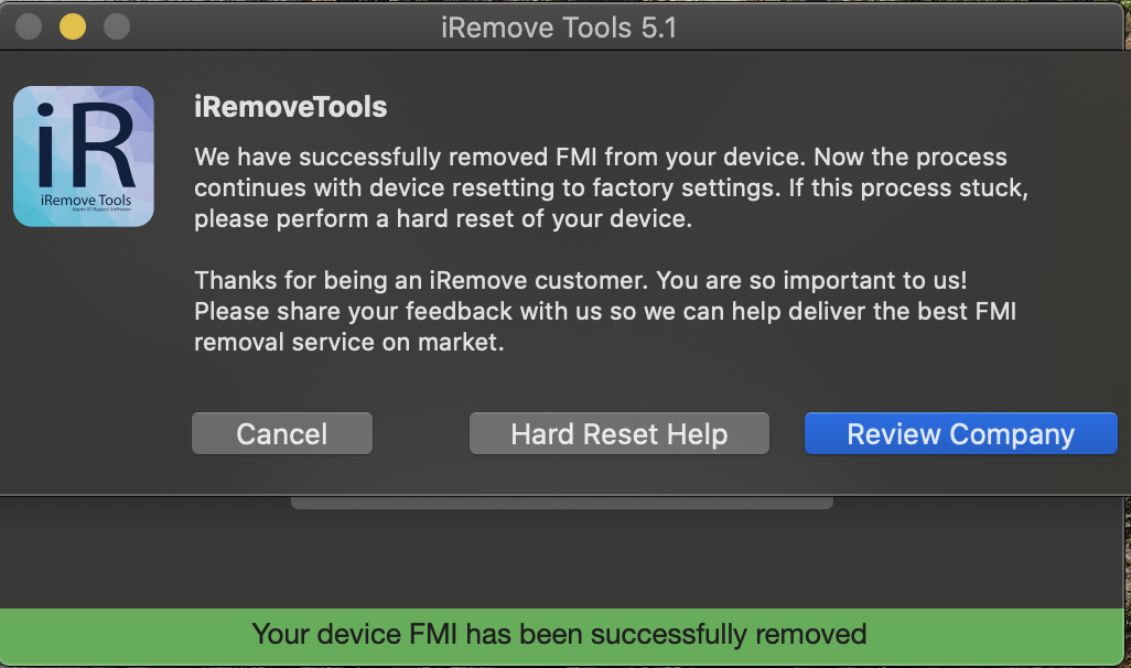 Turn FMI OFF process using iRemove Software successfully done