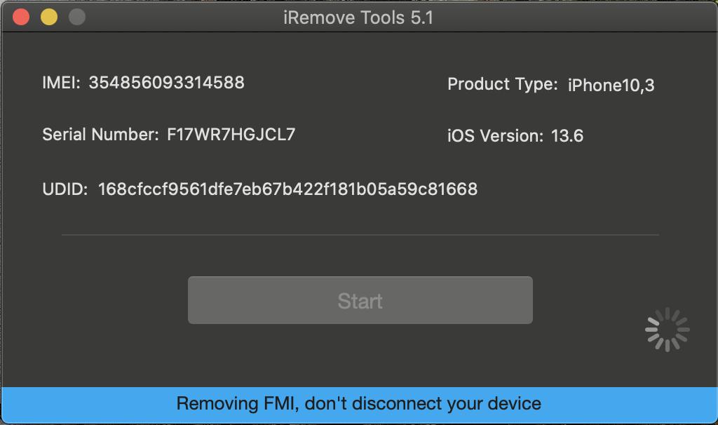 Turn FMI OFF using iRemove Software process unlocking
