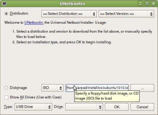 Unetbootin - create bootable Ubuntu Live USB