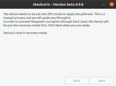 Checkra1n - jailbreak iOS step 4